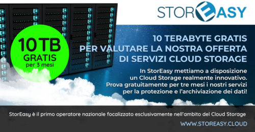 STOREASY PROMO Cloud Storage 10TB gratis per 3 mesi